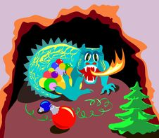 Free Xmas Dragon In Cave Royalty Free Stock Photography - 22062847