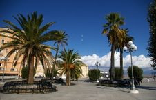 Free Square With Palms And Benches. Stock Image - 22064911