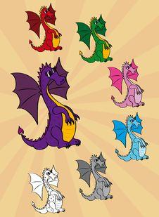 Free Set Of Cute Cartoon Dragons Stock Photos - 22069293