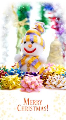 Free Snowman On The Background Of Christmas Decorations Stock Photo - 22073570