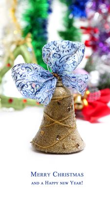 Free Christmas Colorful Card With Bell Royalty Free Stock Images - 22073589