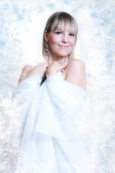 Free Beautiful Girl On Winter Background Royalty Free Stock Photo - 22073685