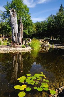 Free Rock Garden With A Pond In The Park Staging Royalty Free Stock Image - 22076806