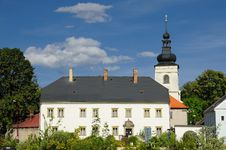 Parish Office And Church In Svitavy Royalty Free Stock Images