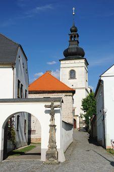 Parish Office And Church In Svitavy Stock Photo