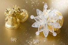 Gold Christmas Ball And Decorations Stock Images