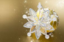 Free Gold Christmas Ball And Decoration Stock Photo - 22079220