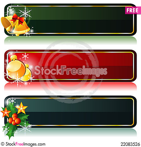 Free Three Christmas Banners Royalty Free Stock Image - 22083526
