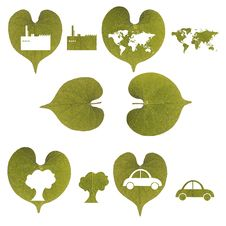 Green Leaf, Car, Industry, World Map Isolated Royalty Free Stock Photo