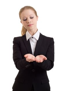 Business Woman Presenting Something Imaginary Stock Image