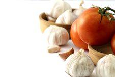 Tomatoes And Garlic Stock Image