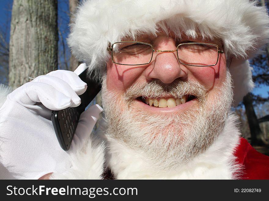 Santa Talking On His Cell Phone