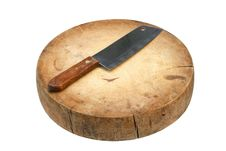 Free Wooden Cutting Board And Knife Royalty Free Stock Photos - 22094538