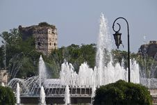 Fountain Next To The Land Walls In Istanbul Royalty Free Stock Photos