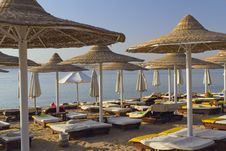 Deck Chairs On A Beach (Egypt) Royalty Free Stock Photo