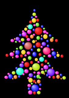 Christmas Tree With Balls Stock Images