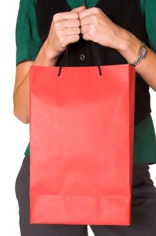 Free Isolated Woman Holding A Bag Stock Images - 2210394