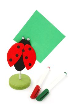 Ladybird Memo-holder With Pens Royalty Free Stock Images