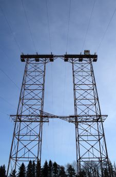 Big Double Electricity Pylon Stock Images