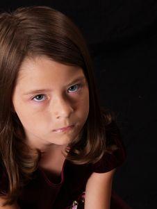 Free Brunette Little Girl On Black Stock Images - 2211854