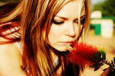 Free Woman And Flower Stock Photography - 2212202
