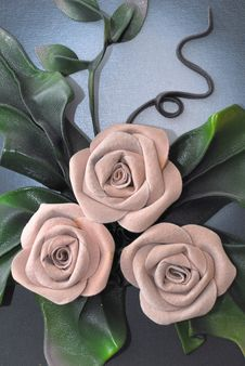 Genuine Leather Roses Stock Photography