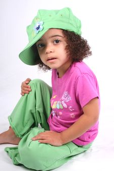 Free Girl In Green Hat Stock Photography - 2215662