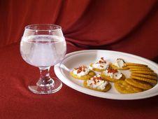 Free Wine Glass With Cracker Snacks Stock Photo - 2215830