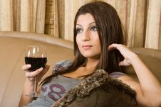 Free Women In A Glass Of Red Wine Stock Image - 2216401