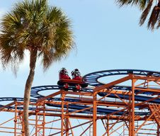Free Blue And Orange Rollercoaster Royalty Free Stock Image - 2217606