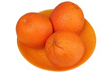 Oranges In A Plate Stock Photo