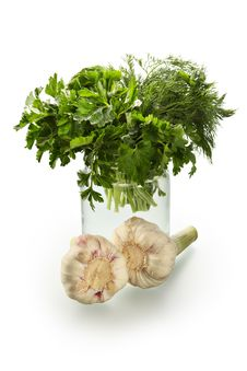 Fragrant Parsley And Garlic Stock Photography