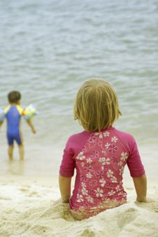 Free Children At The Beach Royalty Free Stock Image - 2219026