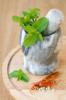 Free Fragrant Mint In A Ceramic Mortar And Spices Stock Image - 22108261