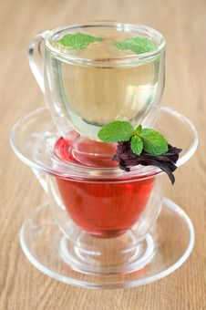 Free Mint Tea And Tea Hibiscus Stock Photography - 22108282