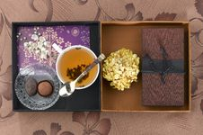 Decoration Box Tea Cup Chocolate And Brown Box Stock Photo