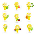 Free Eco Bulb Symbols Set Isolated Yellow Color Royalty Free Stock Photo - 22116135