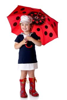 The Little Girl With An Umbrella Royalty Free Stock Images