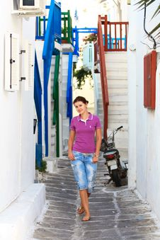 Free Tourist In A Street Of Mykonos Stock Photos - 22111943