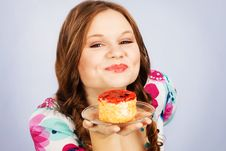 Lovely Girl With Fruit Cake Stock Photography