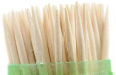 Wooden Toothpicks In Plastic Case Stock Photos