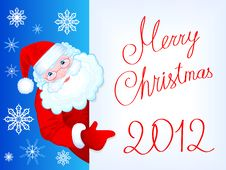 Free Merry Christmas 2012 Post Card With Kind Santa Cla Stock Photo - 22116400