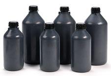 Free Black Plastic Bottle Of Various Sizes Royalty Free Stock Image - 22118046