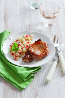Free Pork And Pears With Pomegranate Stock Image - 22119031