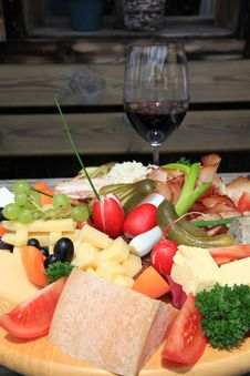 Austrian Cold Cuts And Cheese Platter Stock Image
