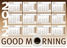 Free Coffee Cup Calendar 2012 Royalty Free Stock Photography - 22127557