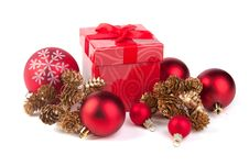 Free Christmas Gift On A White Background Royalty Free Stock Images - 22128219