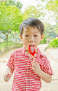 Free Young Asian Boy Eating Ice-cream Stock Image - 22131261