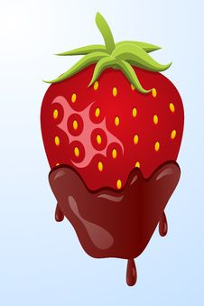 Strawberry Dipped In Chocolate Stock Photo