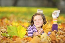 Free Beautiful Girl At Autumn Stock Photos - 22130843